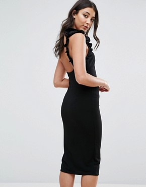 photo One Shoulder Midi Dress With Frill Detail by Oh My Love, color Black - Image 2