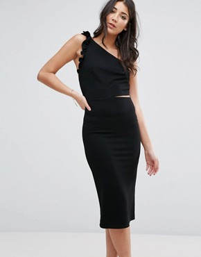 photo One Shoulder Midi Dress With Frill Detail by Oh My Love, color Black - Image 1