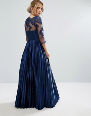 photo Lace Top Maxi Dress with Pleated Skirt by Chi Chi London Petite, color Navy - Image 2
