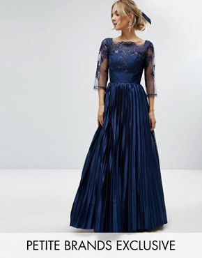 photo Lace Top Maxi Dress with Pleated Skirt by Chi Chi London Petite, color Navy - Image 1