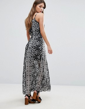 photo Printed Overlay Maxi Dress by QED London, color Black - Image 2