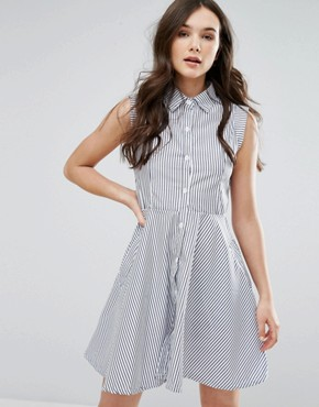 photo Skater Shirt Dress by QED London, color White Navy - Image 1