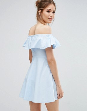 photo Off Shoulder Frill Dress by QED London, color Pale Blue - Image 2