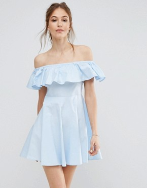 photo Off Shoulder Frill Dress by QED London, color Pale Blue - Image 1