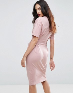 photo Midi T-shirt Dress with Corset Detail by ASOS, color Nude - Image 2