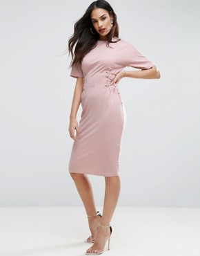 photo Midi T-shirt Dress with Corset Detail by ASOS, color Nude - Image 1