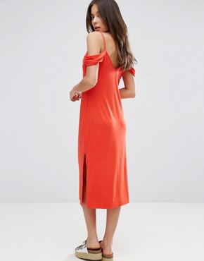 photo Midi Sundress with Cold Shoulder by ASOS, color Tomato - Image 2