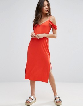 photo Midi Sundress with Cold Shoulder by ASOS, color Tomato - Image 1