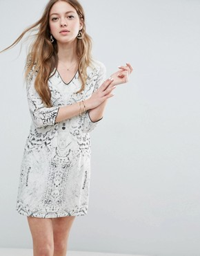 photo Snake Print Shift Dress by See U Soon, color Off White - Image 1