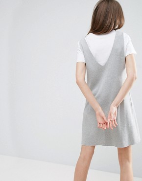 photo Vest Dress with T-Shirt by ASOS, color Grey Marl/White - Image 2
