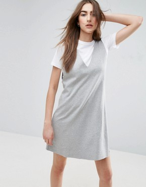 photo Vest Dress with T-Shirt by ASOS, color Grey Marl/White - Image 1