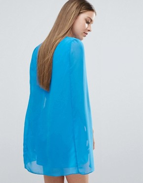 photo Cape Mini Dress by Madam Rage, color Blue - Image 2