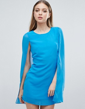 photo Cape Mini Dress by Madam Rage, color Blue - Image 1