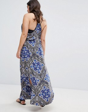 photo Scarf Print Maxi Beach Dress by City Chic, color  - Image 2