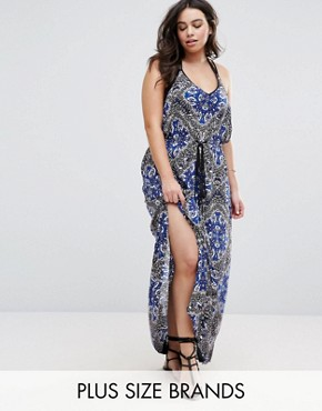 photo Scarf Print Maxi Beach Dress by City Chic, color  - Image 1