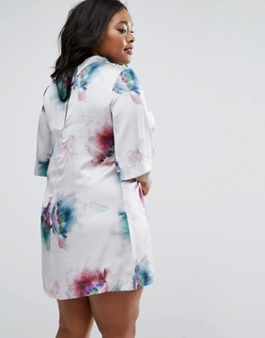 photo High Neck Dress In Floral Print by Elvi Plus, color Watercolour - Image 2