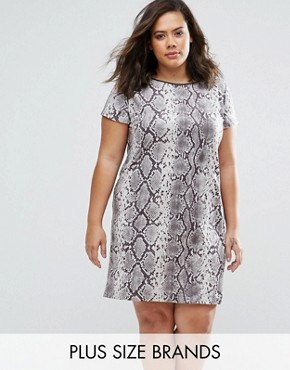 photo Suedette Dress In Snake Print by Elvi Plus, color Snake - Image 1