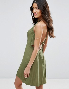 photo Tie Back Sundress in Crinkle Fabric by ASOS, color Khaki - Image 2