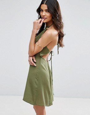 photo Tie Back Sundress in Crinkle Fabric by ASOS, color Khaki - Image 1
