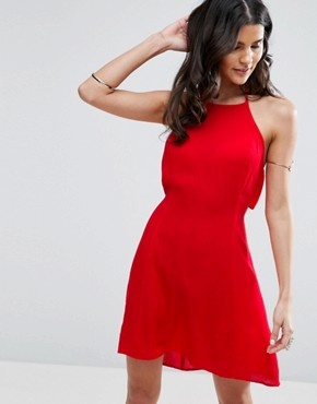 photo Tie Back Sundress in Crinkle Fabric by ASOS, color Red - Image 2