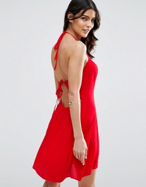 photo Tie Back Sundress in Crinkle Fabric by ASOS, color Red - Image 1