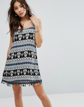 photo Cami Dress with Festival Print & Trim by Kiss The Sky, color  - Image 1