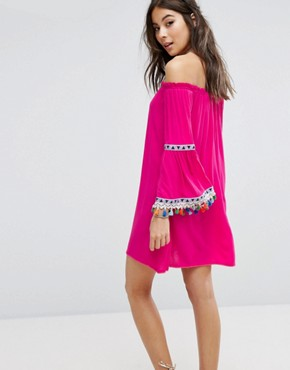 photo Off Shoulder Dress with Festival Pom Trim by Kiss The Sky, color Pink - Image 2