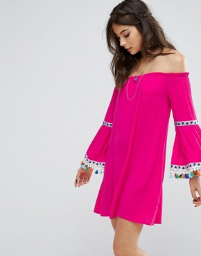 photo Off Shoulder Dress with Festival Pom Trim by Kiss The Sky, color Pink - Image 1