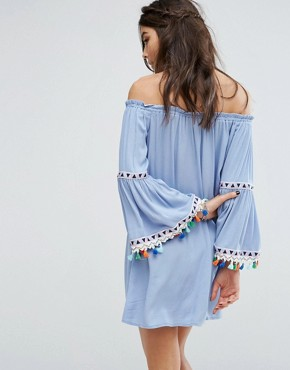 photo Off Shoulder Dress with Festival Tassel Trim by Kiss The Sky, color Blue - Image 2
