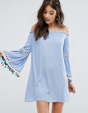 photo Off Shoulder Dress with Festival Tassel Trim by Kiss The Sky, color Blue - Image 1