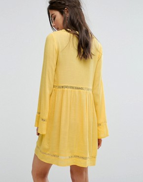 photo Button Front Tea Dress with Ladder Inserts by Kiss The Sky, color Yellow - Image 2