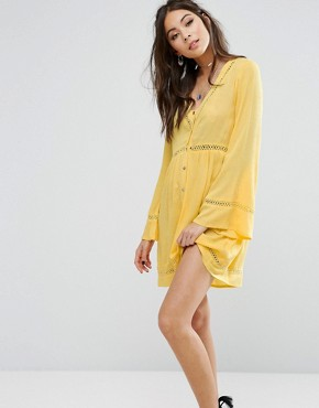 photo Button Front Tea Dress With Ladder Inserts by Kiss The Sky, color Yellow - Image 1