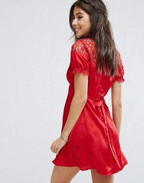 photo Tea Dress with Eyelash Lace Trim by Kiss The Sky, color Red - Image 2