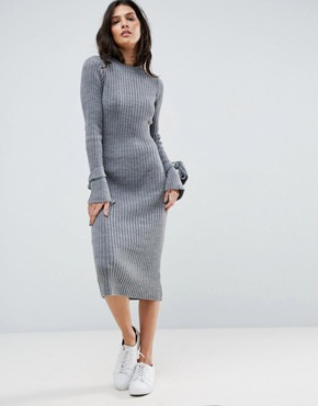 photo Knitted Rib Dress With Knotted Cuff by ASOS, color Grey Marl - Image 1