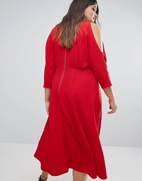 photo Skater Dress with Cold Shoulder Detail by Closet London Plus, color Red - Image 2