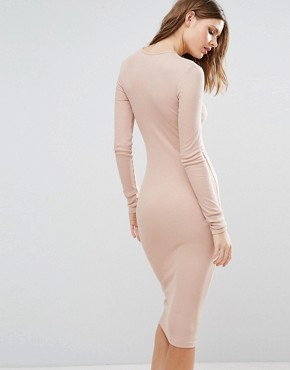 photo Midi Bodycon Dress in Rib with Long Sleeves by ASOS TALL, color Nude - Image 2