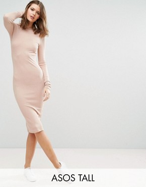 photo Midi Bodycon Dress in Rib with Long Sleeves by ASOS TALL, color Nude - Image 1