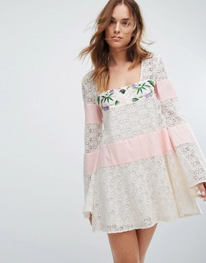 photo Embroidered Lace Grove Dress by Majorelle, color Ivory - Image 1