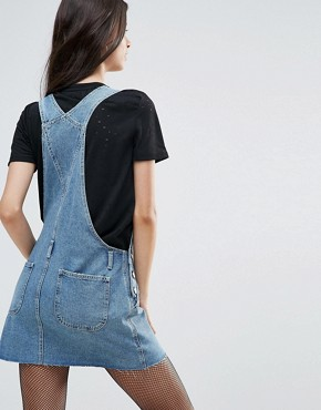 photo Denim Dungaree Dress in Mid Wash Blue by ASOS PETITE, color Blue - Image 2