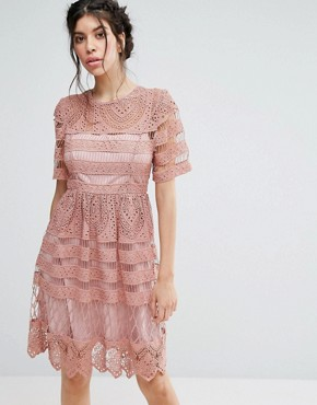 photo Lace Double Layer Skater Dress by Love Triangle, color Pink - Image 1