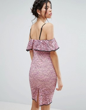 photo Lace Cold Shoudler Midi Dress with Contrast Trim by Love Triangle, color Pink - Image 2