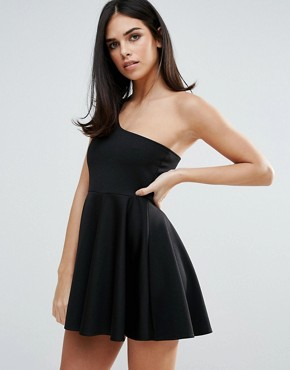 photo One Shoulder Skater Dress by Unique 21, color Black - Image 1