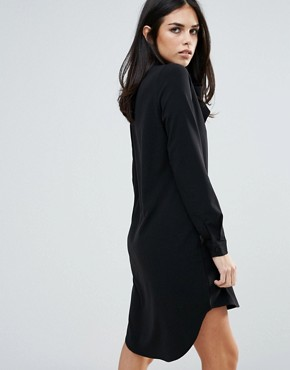 photo Long Sleeve Shirt Dress with Tie Front by Unique 21, color Black - Image 2