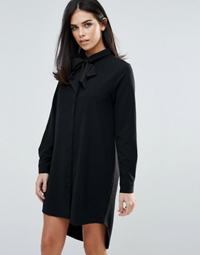 photo Long Sleeve Shirt Dress with Tie Front by Unique 21, color Black - Image 1