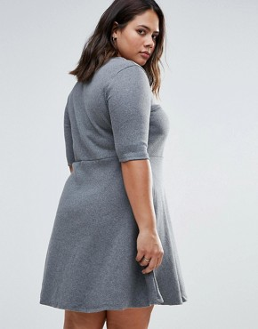 photo Skater Dress with Lace Up Front by Alice & You Plus, color Charcoal Rib - Image 2