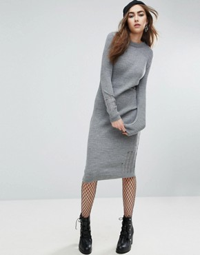 photo Knitted Dress In Rib With Ladder Detail by ASOS, color Grey Marl - Image 1
