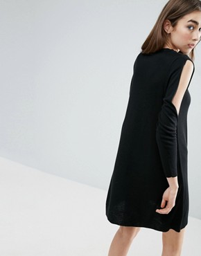 photo Dress in Knit with Cold Shoulder Detail by ASOS, color Black - Image 2
