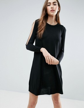 photo Dress in Knit with Cold Shoulder Detail by ASOS, color Black - Image 1