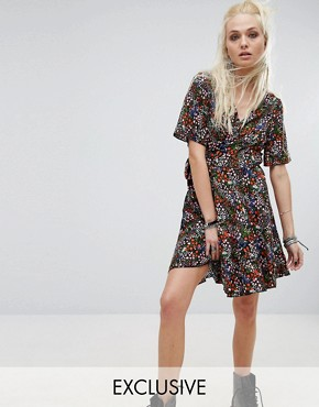 photo Vintage Wrap Dress In Ditsy Multicoloured Floral by Milk It, color  - Image 1