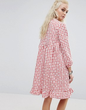 photo Vintage Smock Dress In Floral Gingham by Milk It, color Red - Image 2